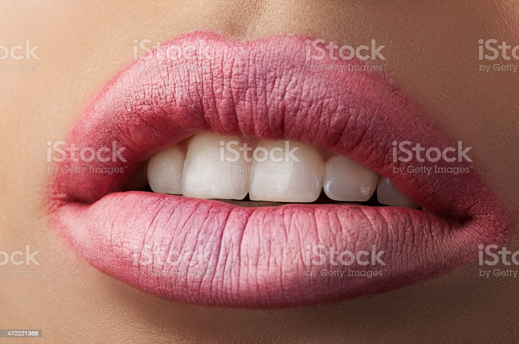 Classic red lips. stock photo