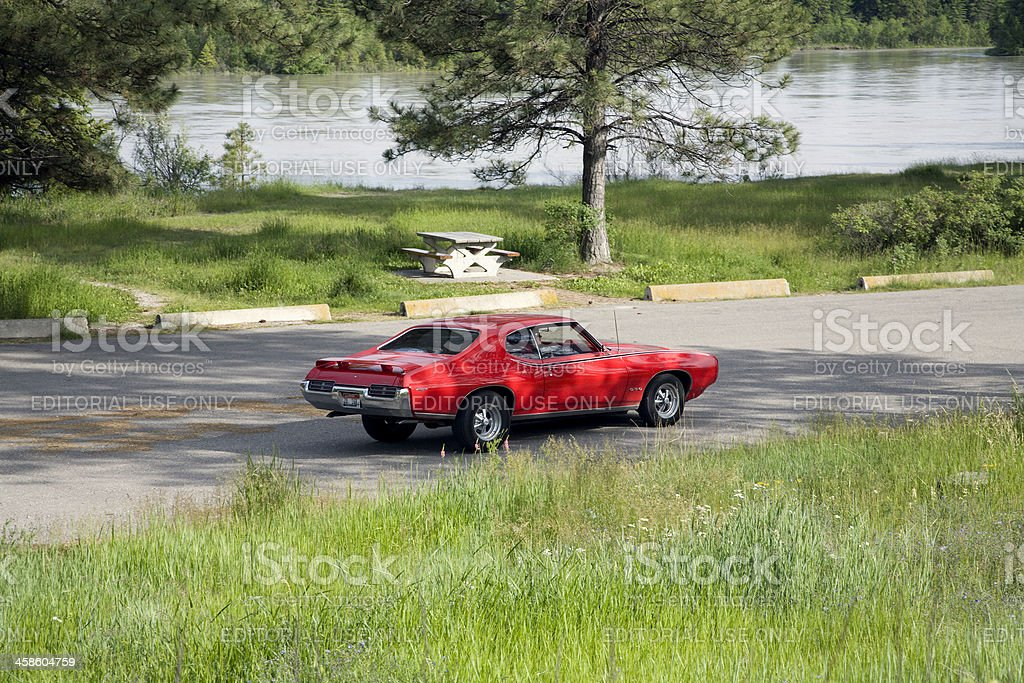 Classic Red Pontiac GTO stock photo