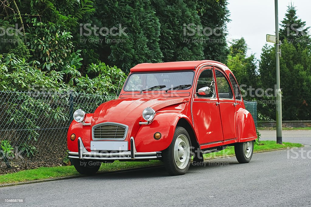 Classic red retro car. stock photo