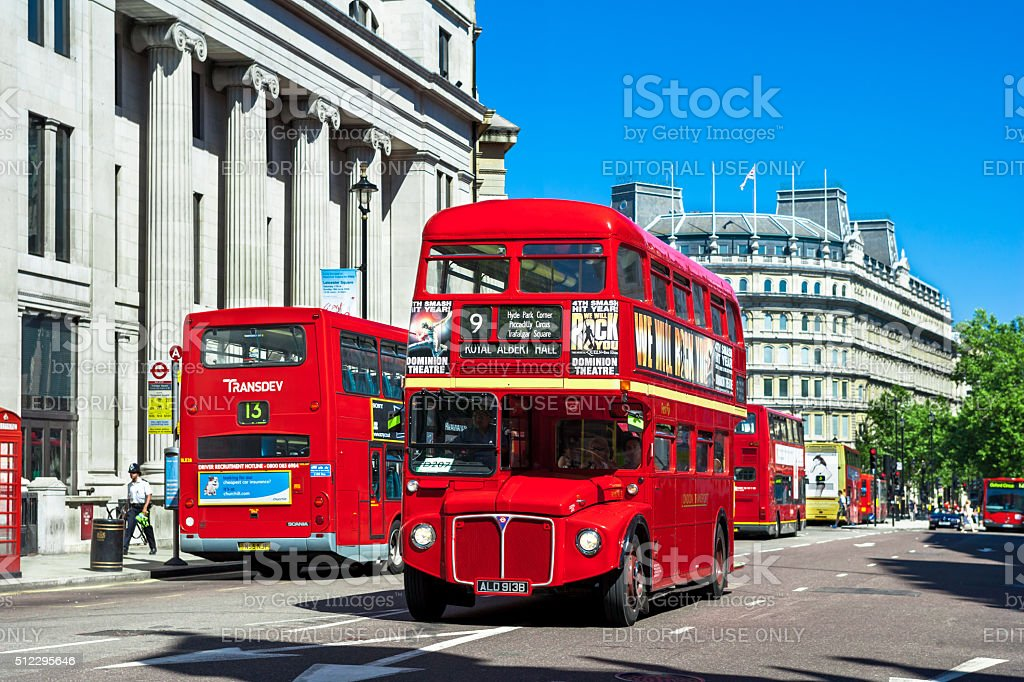 Classic Red Routemaster - Double Decker Buses, London, UK stock photo