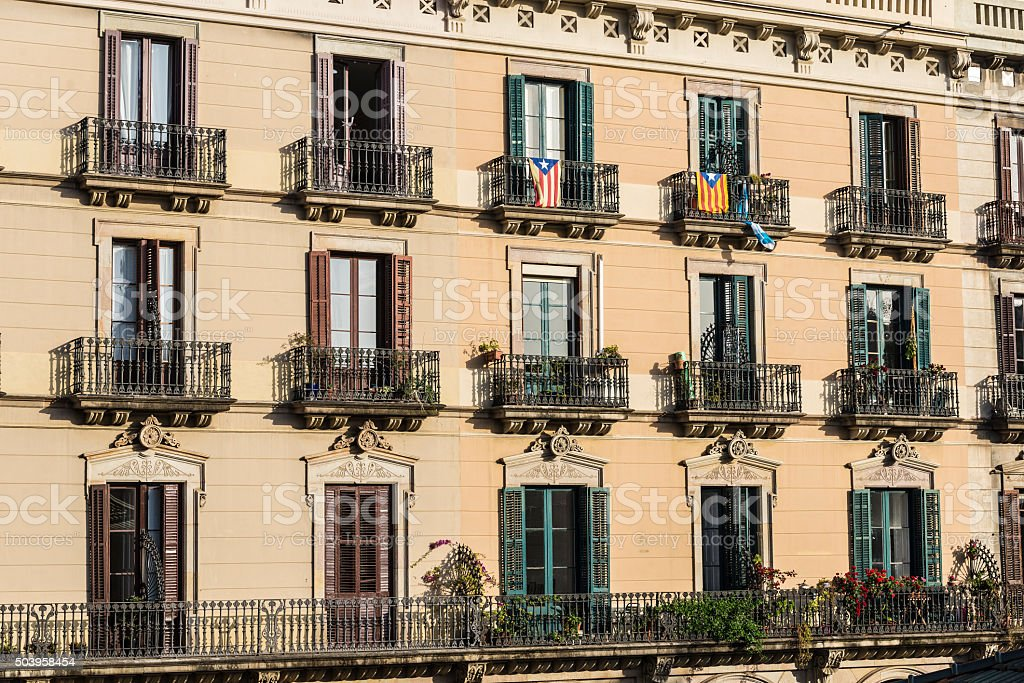 Classic residential building, Barcelona stock photo