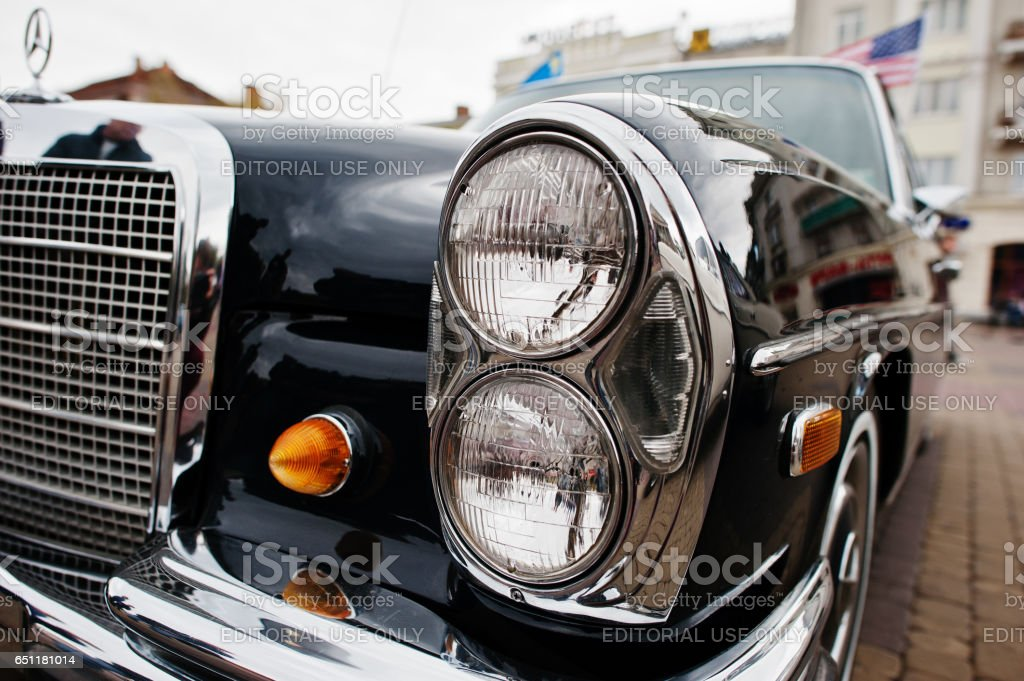 Classic retro car Mercedes-Benz 280 S (W108), luxury cars produced by Mercedes-Benz from 1965-1972 stock photo