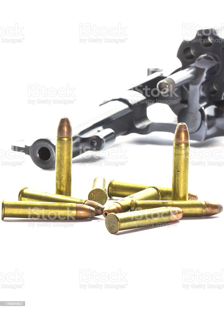 classic revolver and bullets royalty-free stock photo