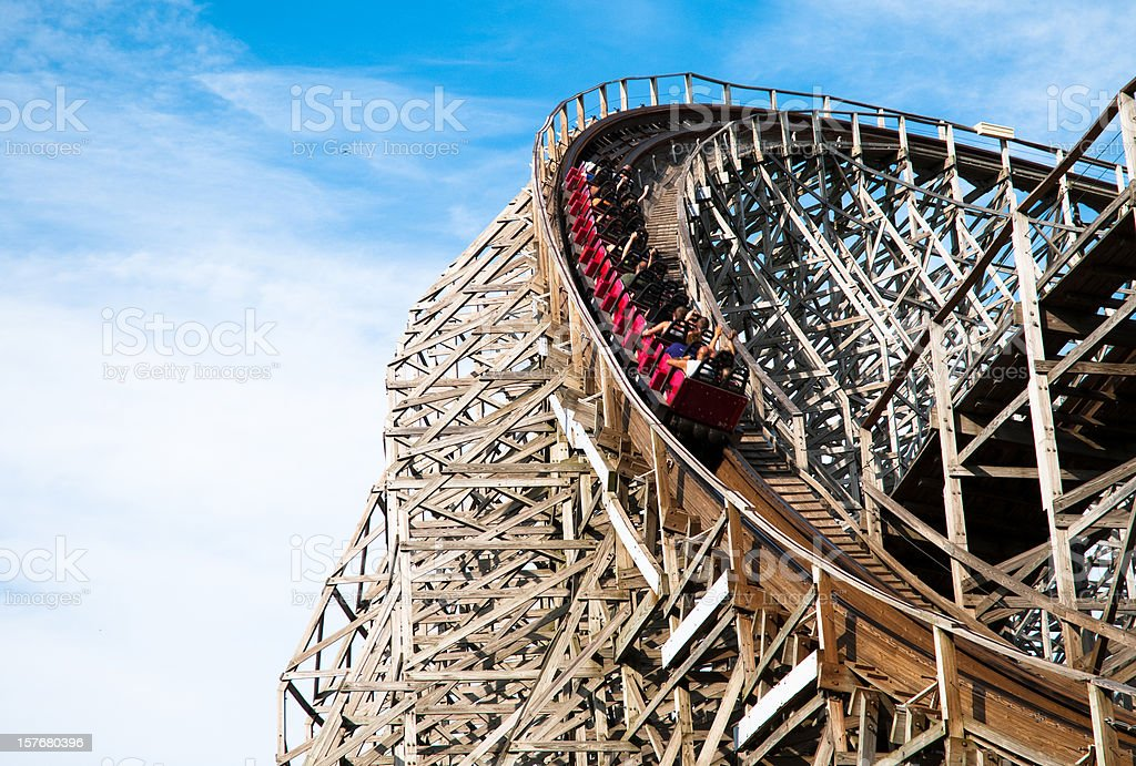 Classic roller coaster with people at Cedar Point, Sandusky, Ohio stock photo