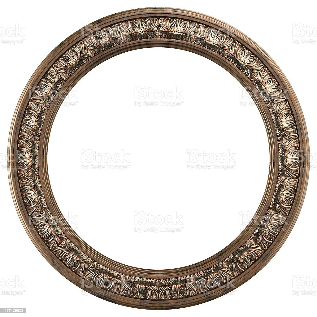 Classic round golden frame stock photo