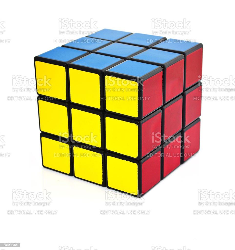 Classic Rubik's cube on white background stock photo