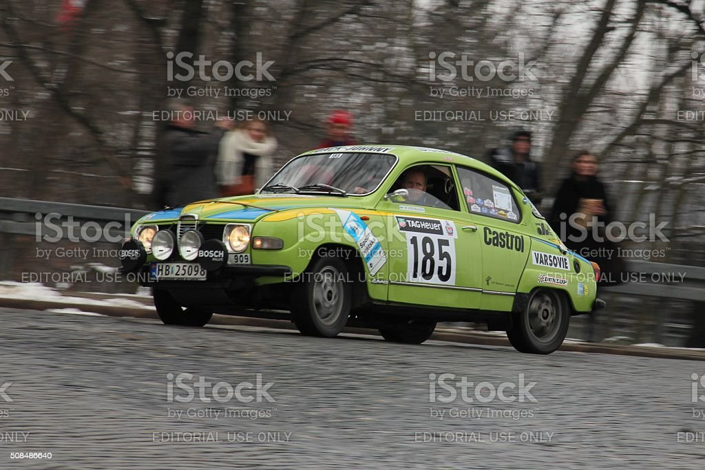 Classic Saab 96 rally car during the rally stock photo