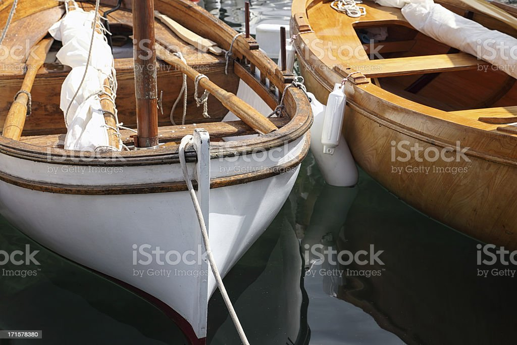Classic sail boat details stock photo