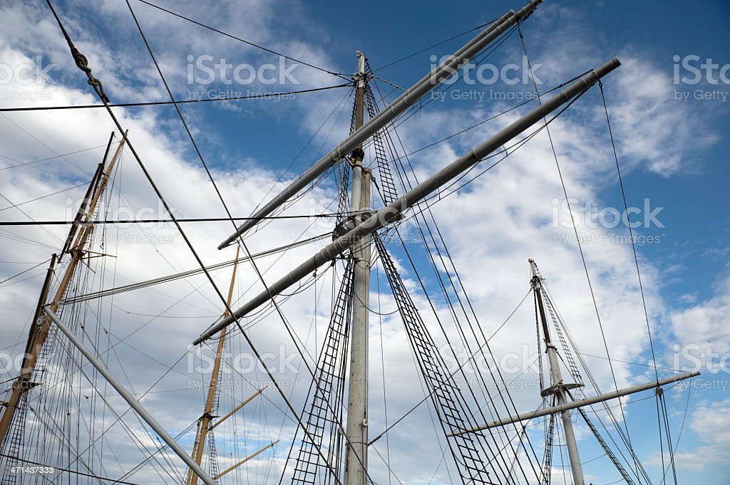 Classic sailboat masts and rigging stock photo