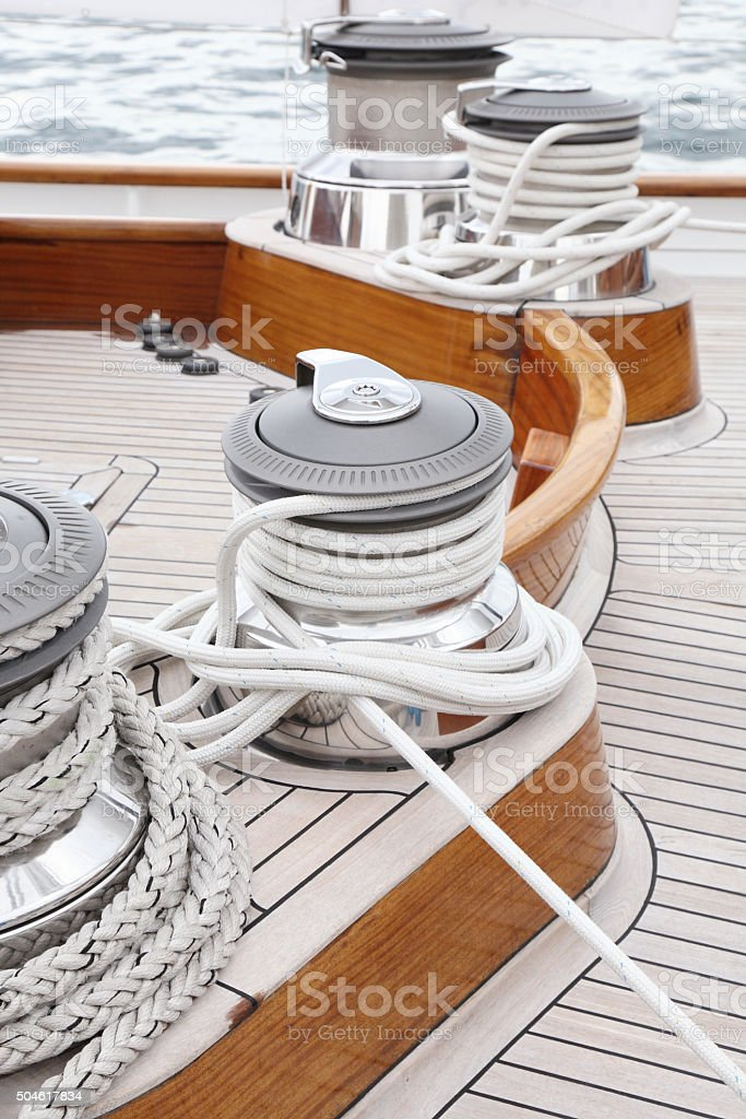 Classic sailing boat winches stock photo