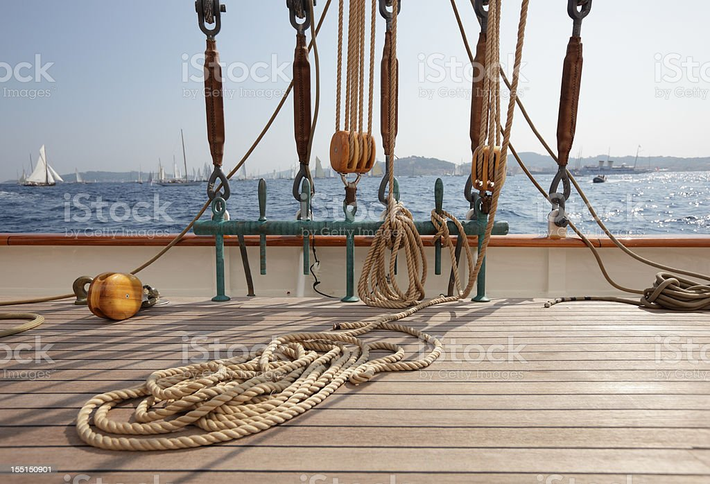 Classic Sailing yacht deck and view royalty-free stock photo