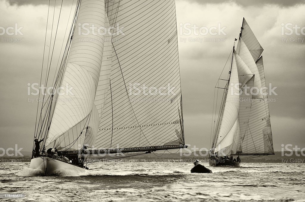 Classic Sailing Yachts in the Westward Cup 2012 stock photo