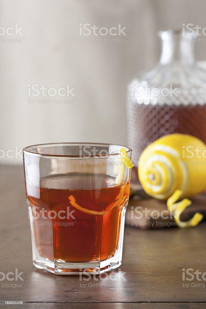 Classic sazerac cocktail on wooden table stock photo