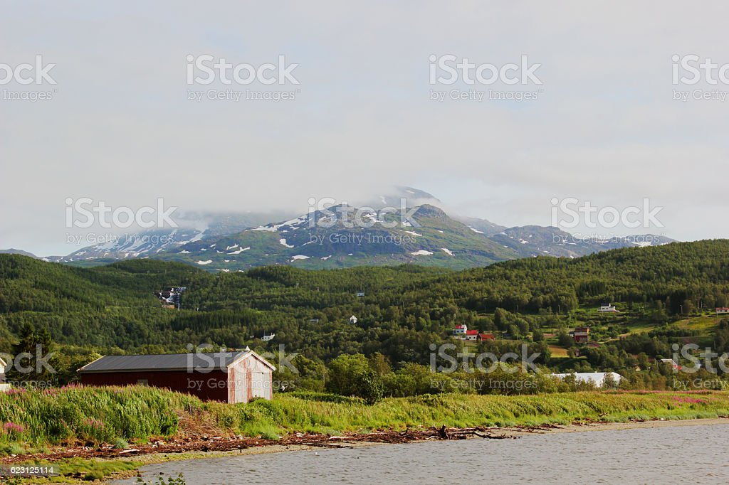 Classic Scene On The Edge Of A Norwegian Fjord stock photo