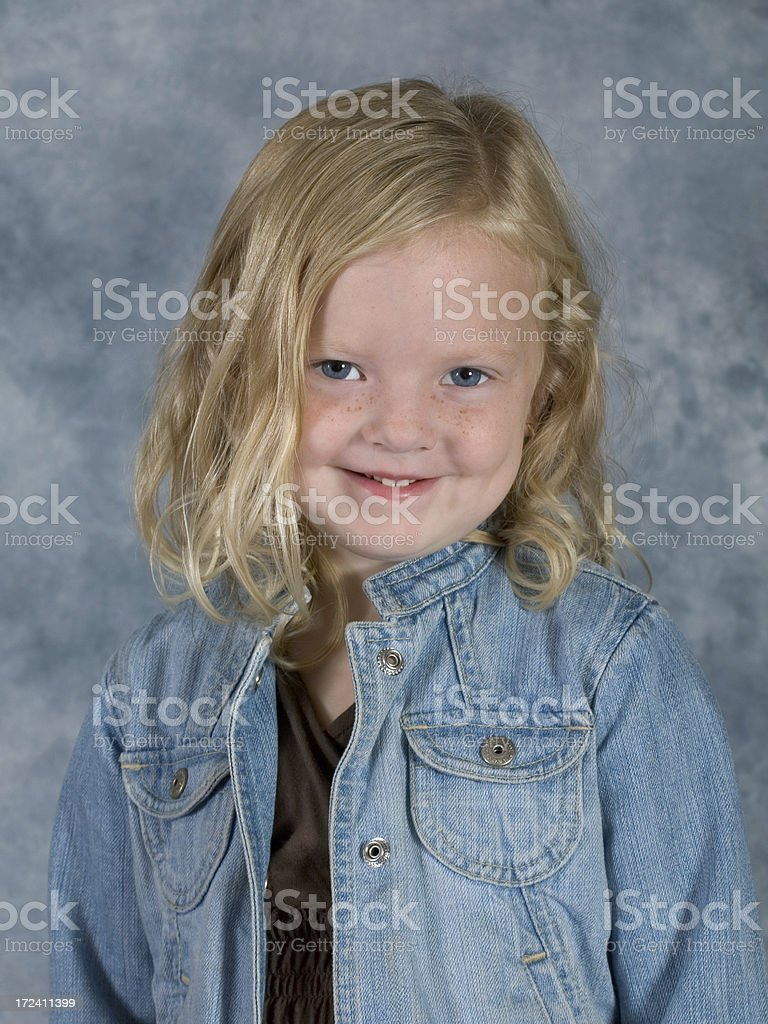 Classic School Pose Cute Girl Smiling Close stock photo