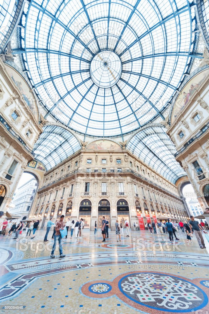Classic shopping mall in Milan, Italy stock photo