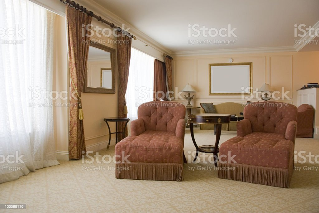 Classic sitting room with two armchairs stock photo