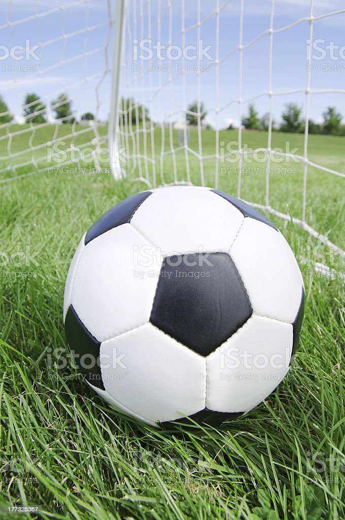 Classic soccer ball in the goal net royalty-free stock photo