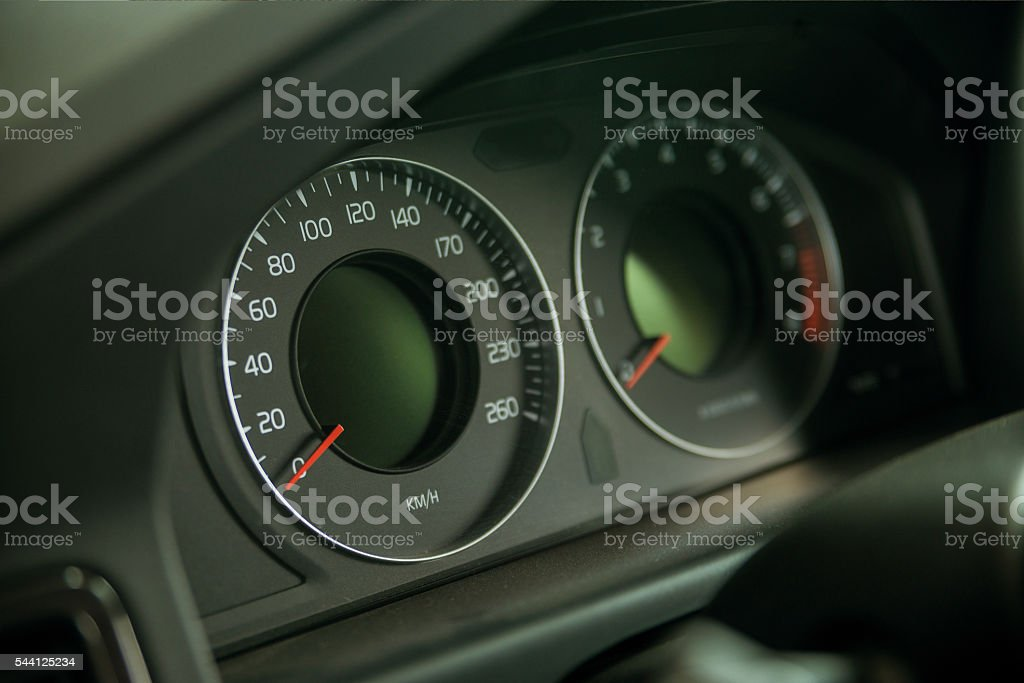 Classic speedometer of car stock photo