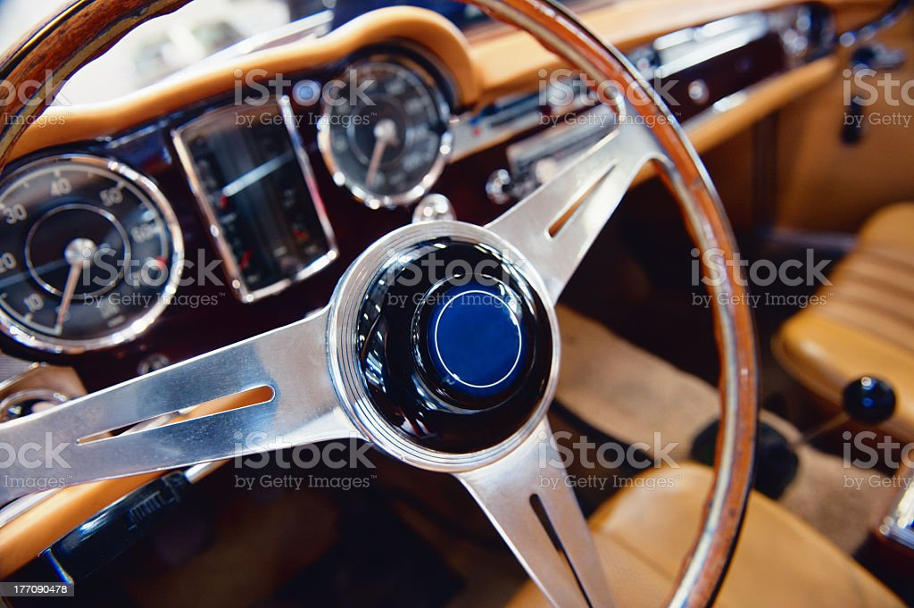 Classic Sports Car Interior stock photo