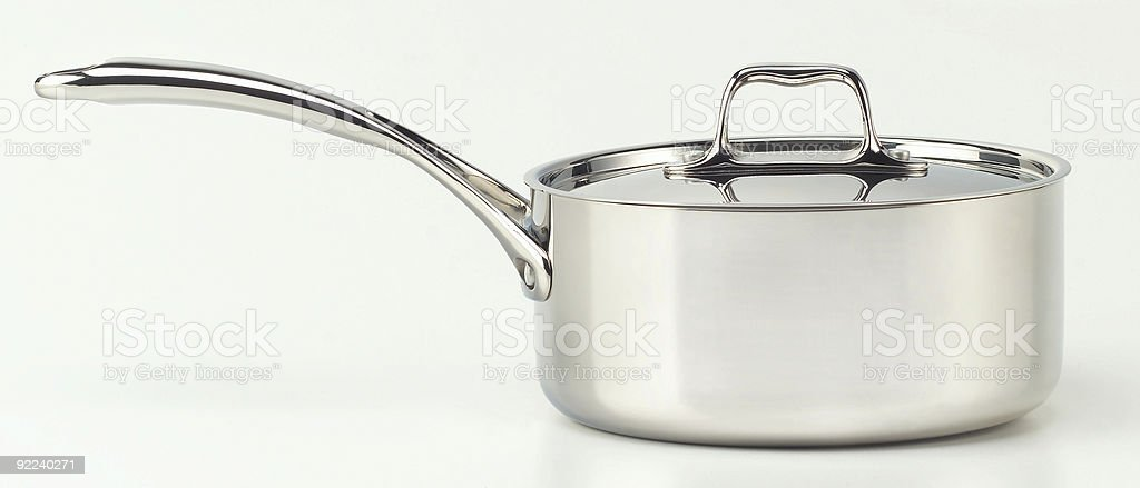 Classic, stainless 1.5qt cooking pot with lid stock photo