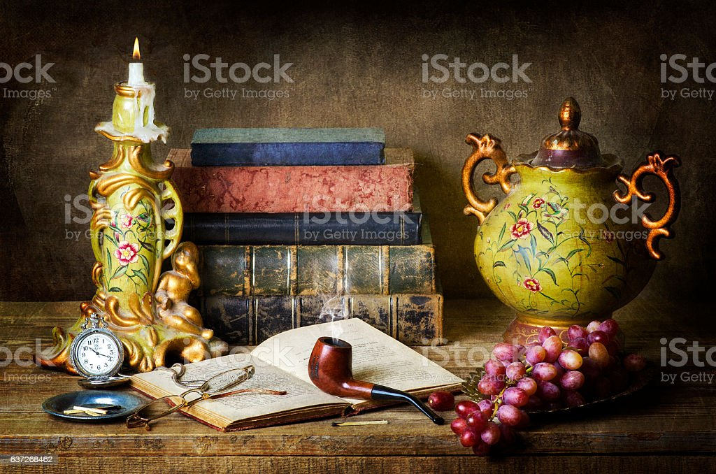 Classic Still life with fruits and books. stock photo