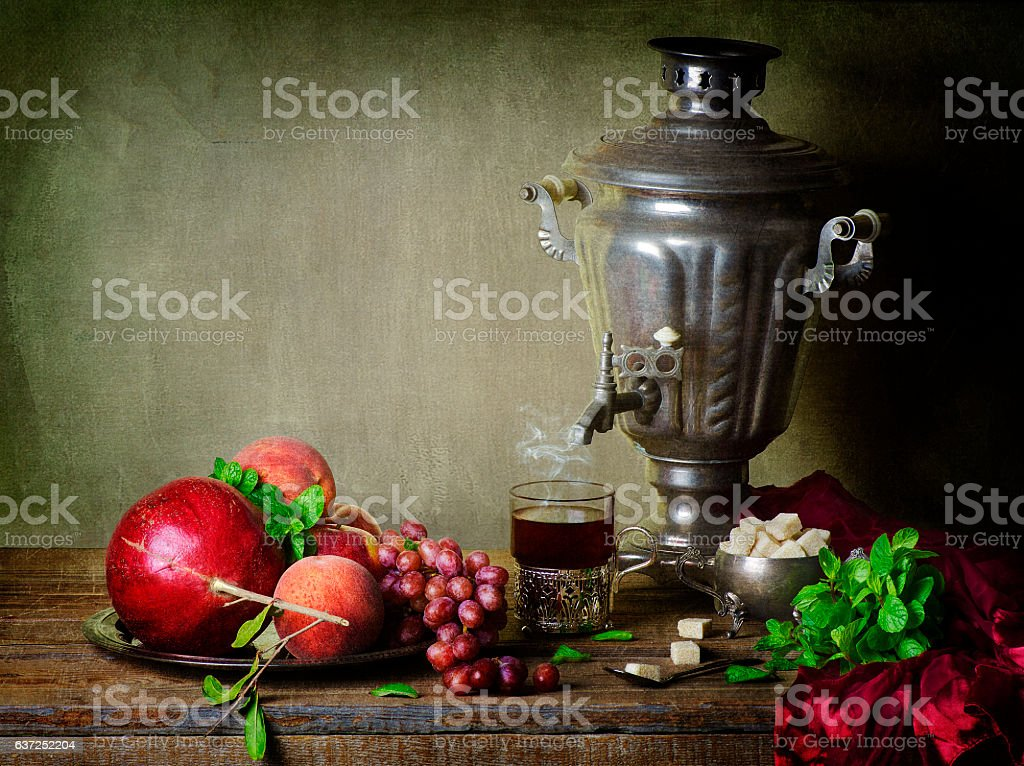 Classic Still life with fruits. stock photo