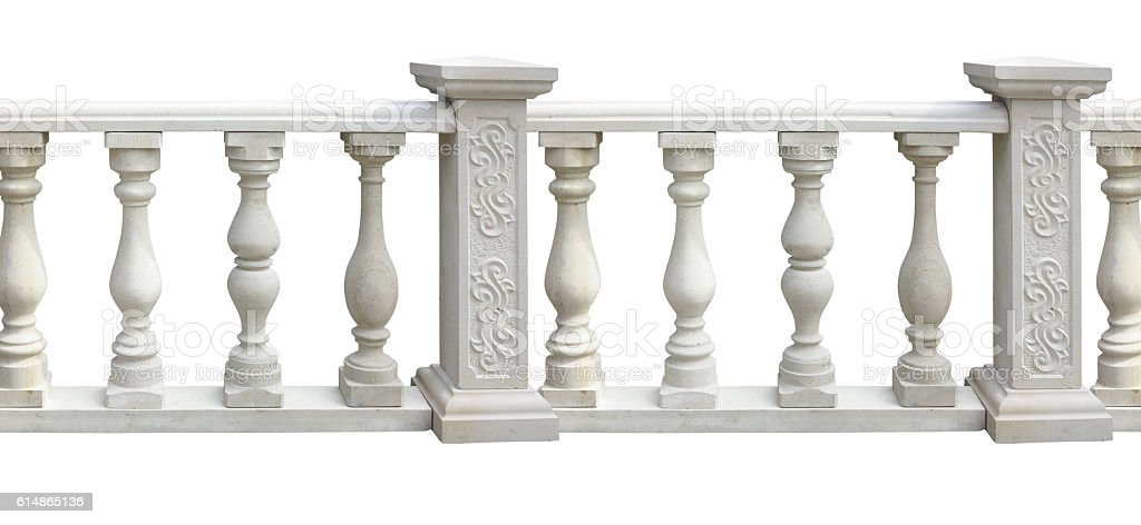 Classic stone balustrade with column isolated over white stock photo