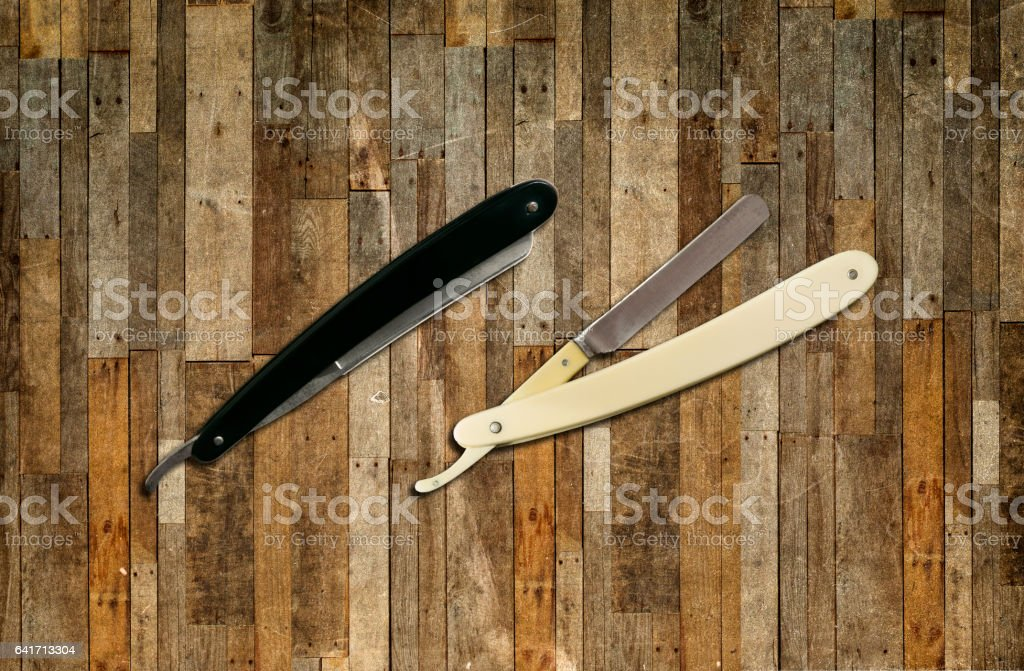 Classic Straight Razors, old style stock photo
