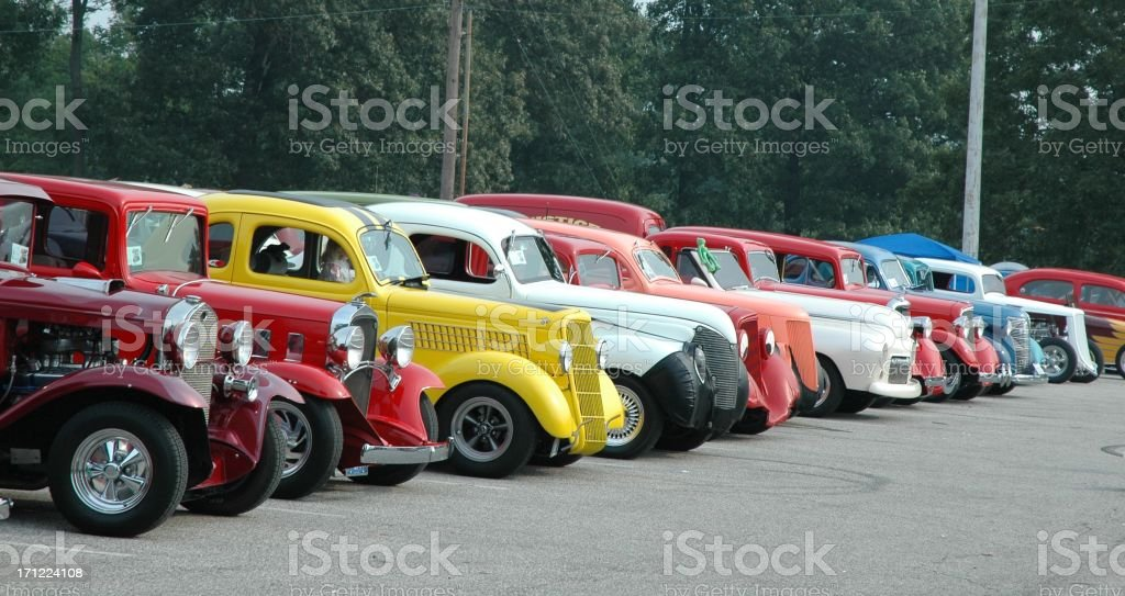 Classic Street Rod Automobile Lineup at Frog Follies Car Show stock photo
