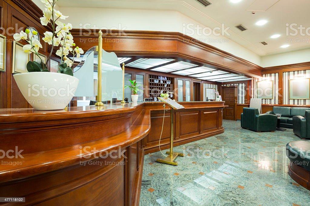 Classic style hotel lobby interior stock photo