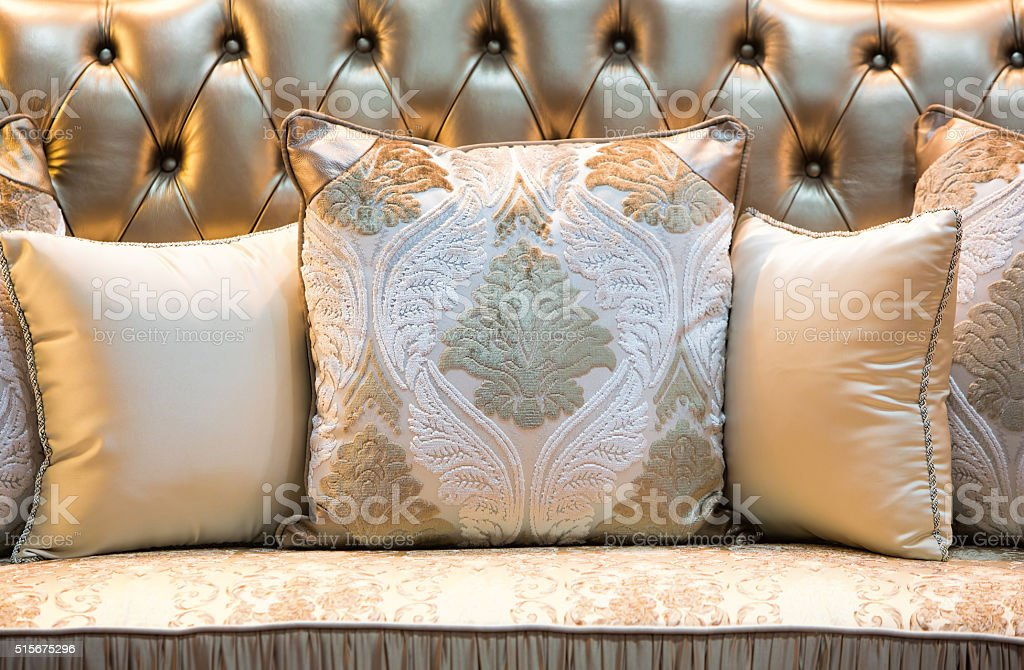 Classic style pillows and sofa. stock photo