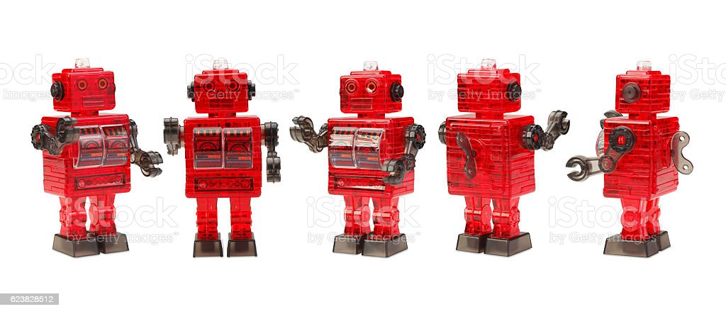 classic style robot toys isolated stock photo