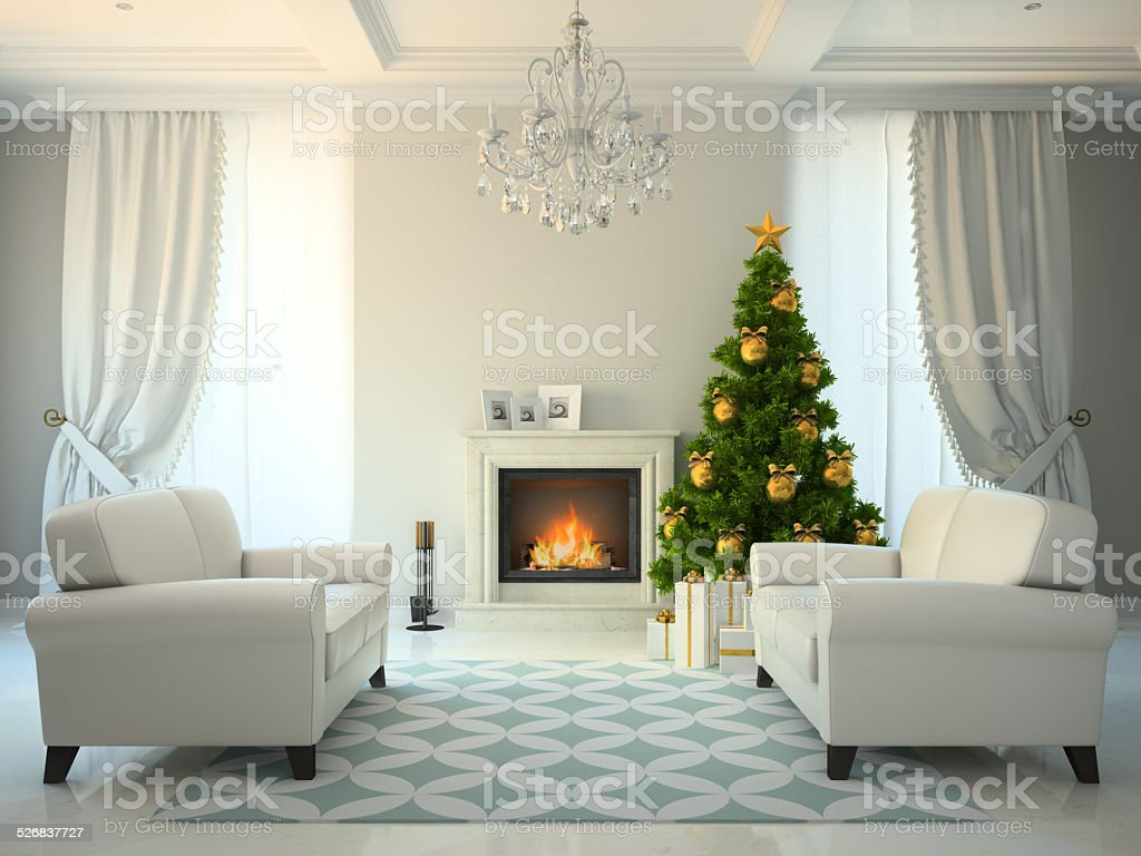 Classic style room with fireplace and christmas tree 3D renderin stock photo