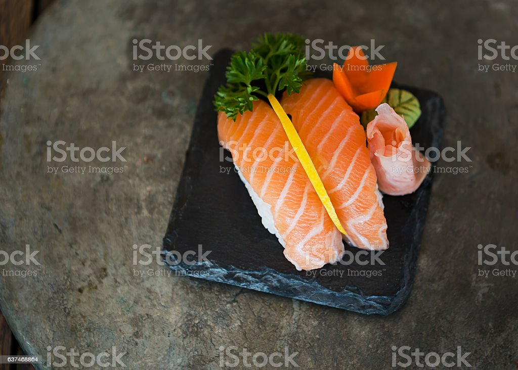 Classic sushi with salmon, delicious Japanese food. stock photo