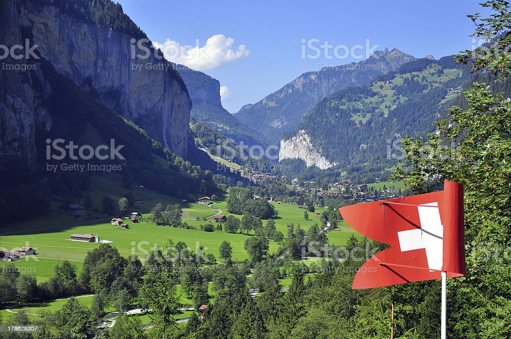Classic swiss valley view stock photo