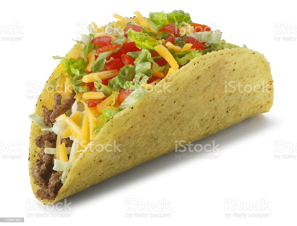 Classic taco isolated on white background with soft shadow royalty-free stock photo