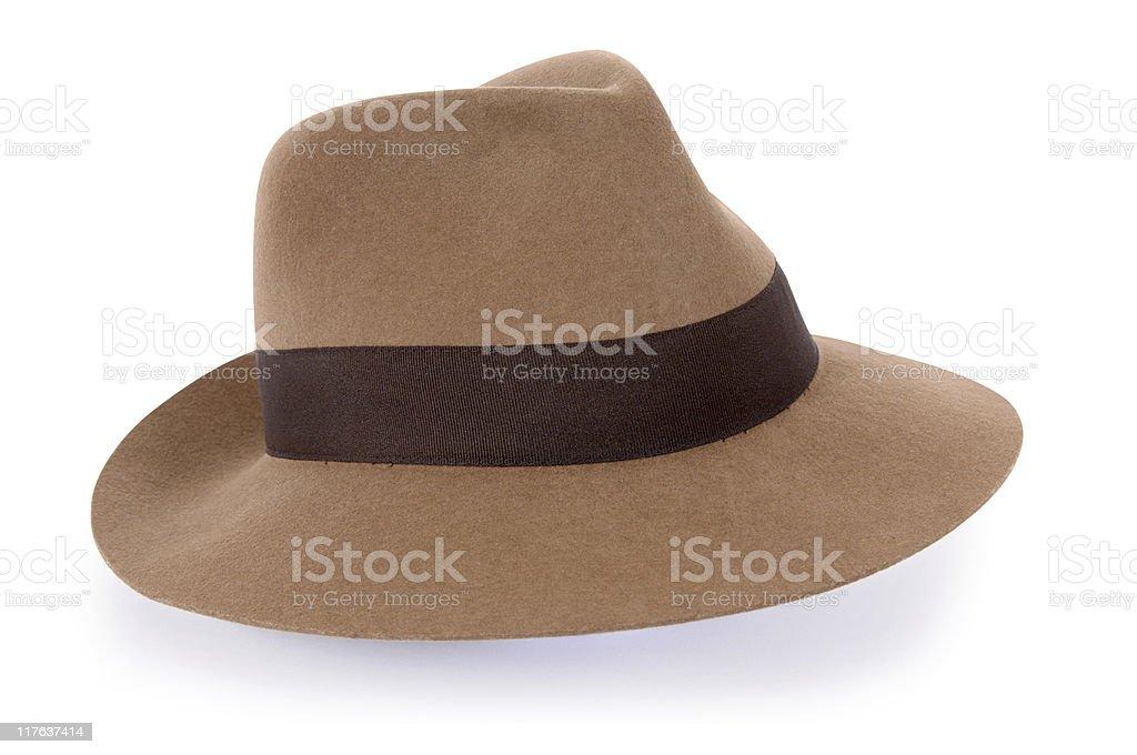 Classic tan felt Fedora (XL) royalty-free stock photo