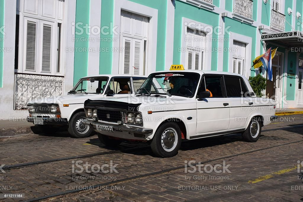 Classic taxi on Cuban street stock photo