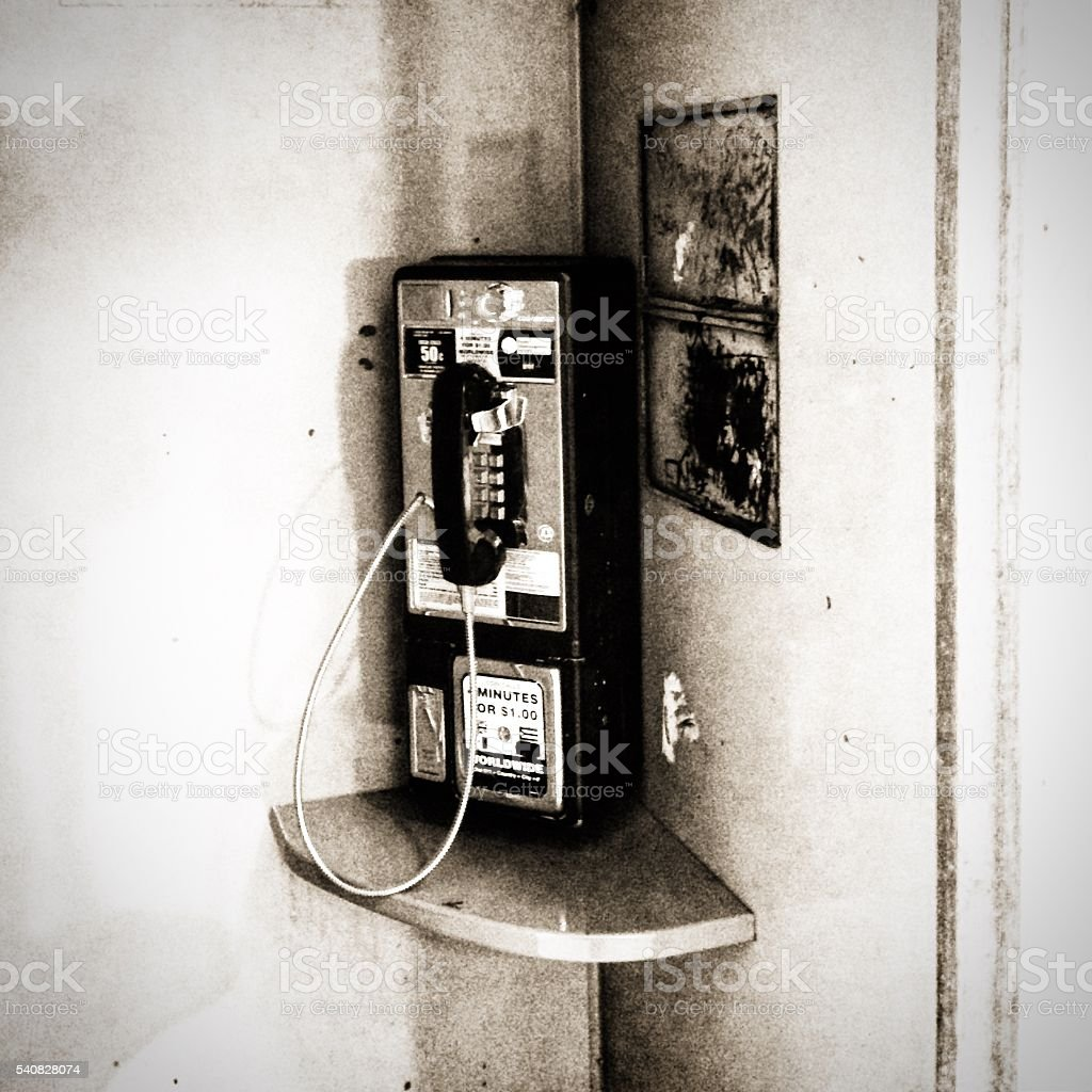 Classic telephone booth in NYPL stock photo