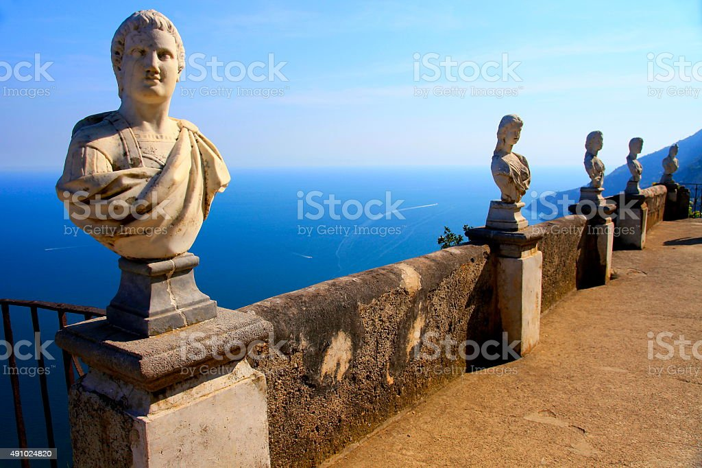 Classic Terrace in Ravello above Amalfi Coast, Italy stock photo