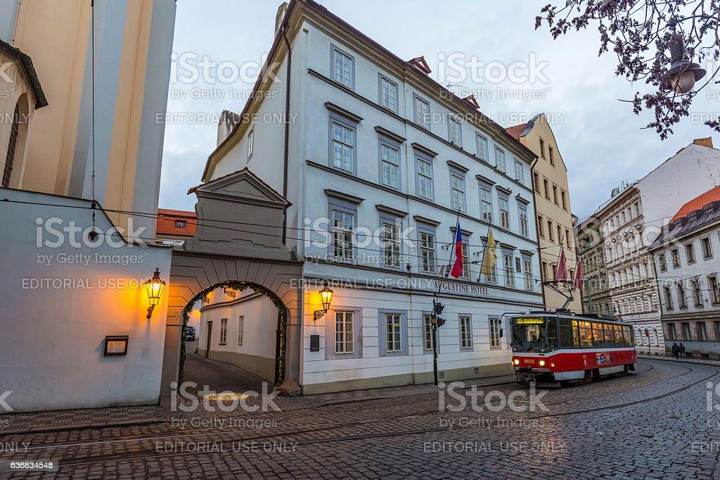 Classic tram at old street in Prague, Czech Republic stock photo