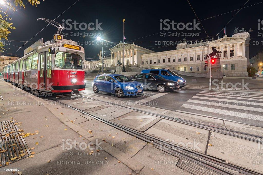 Classic tram Vienna Austria parlament stock photo