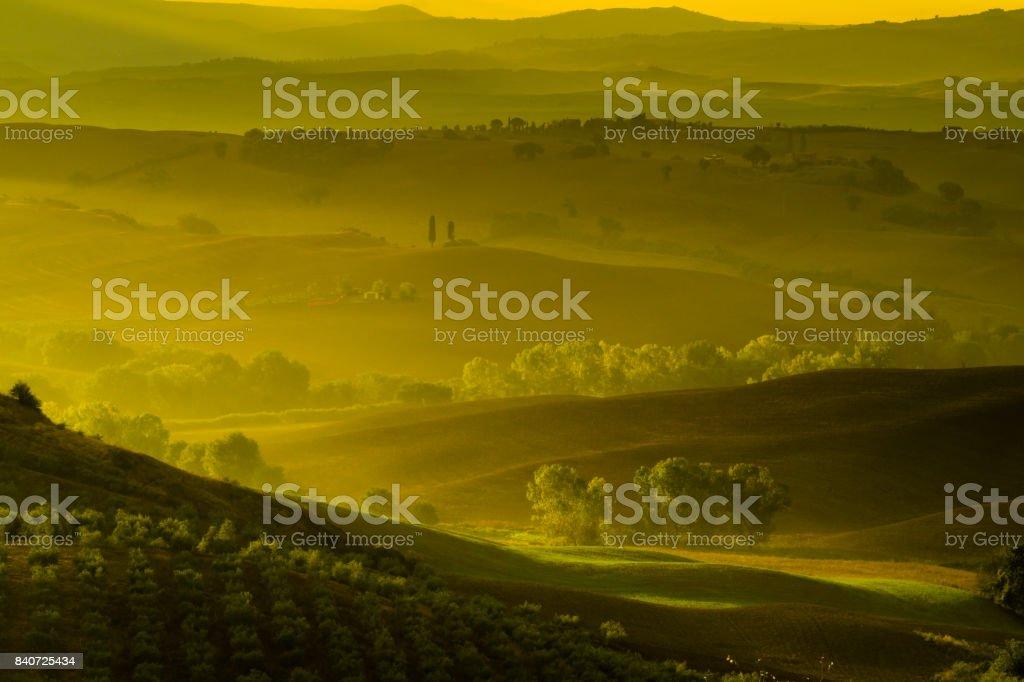 Classic Tuscan landscape, autumn fields stock photo