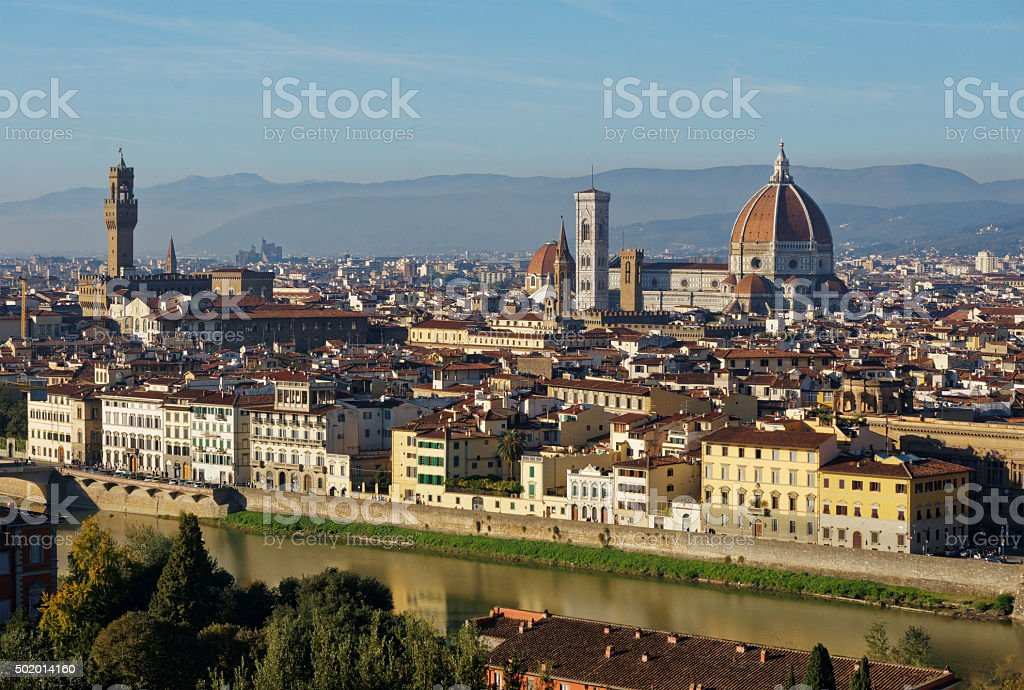 Classic view of Florence, sunset shot stock photo