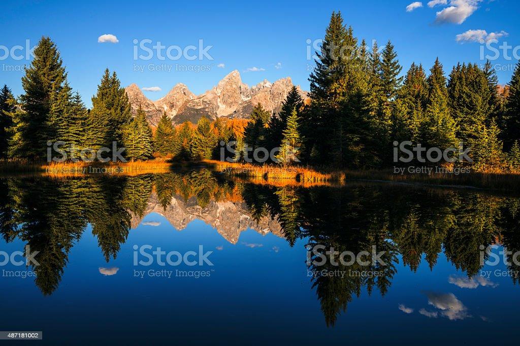 Classic view of Grand Tetons Mountain Range stock photo