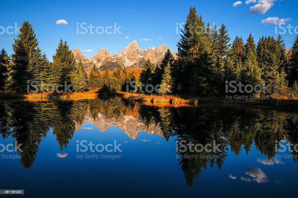 Classic view of Grand Tetons Mountain Range stock photo