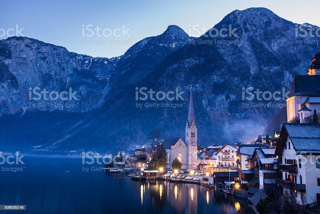 Classic View of Hallstatt Village, Austria stock photo
