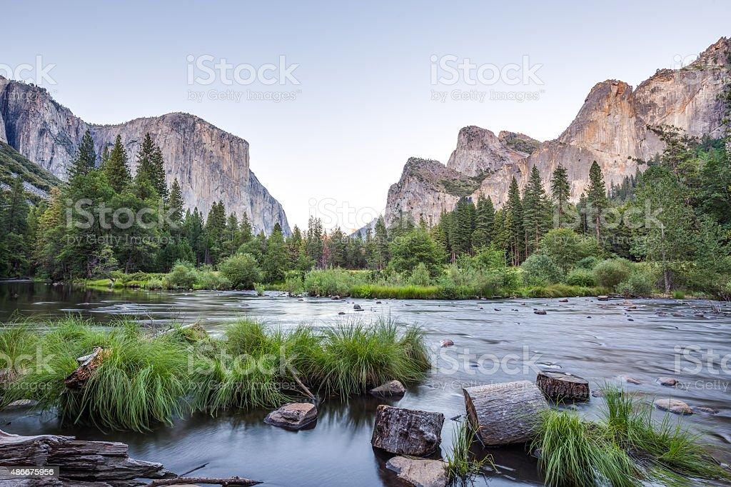 Classic view of Yosemite Valley at sunset, California, USA stock photo