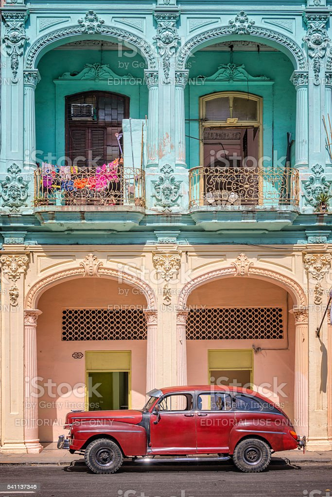 Classic vintage car and coloful colonial buildings in Old Havana stock photo